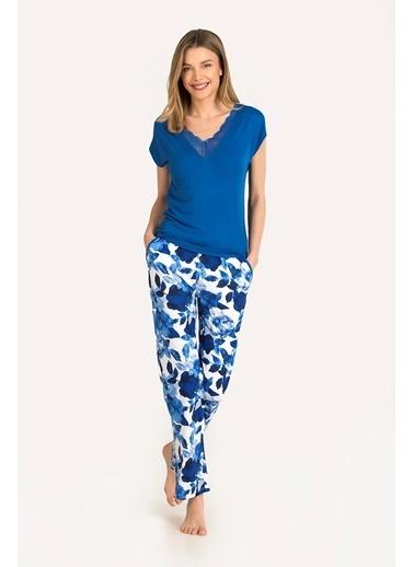 Nbb Blue Bud Viskon Pijama Takımı 67116 Saks